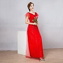 3a00c35531e46 YL LY Vestidos de Noche de Fiesta Vestidos de Dama de Honor Rojos Vestidos  Largos Delgados