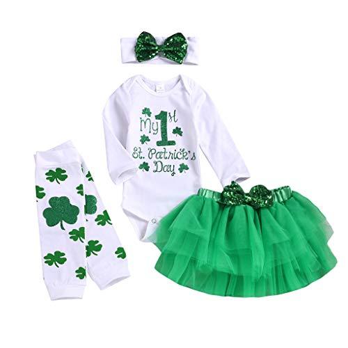 Stirnbänder Irish Dance Kostüm - A-Artist Baby Tutu Rock Langarm Klee St. Patricks Day Irish National Day Brief Harness + Solid Color Puffy Tutu Rock + Stirnband + Sock Set Für Geschenke