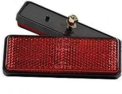 BISOMO Reflektor E-geprüft - mit Schraube - rot - rechteckig für Fahrrad - Anhänger - Auto - Motorrad - Mofa - Quad