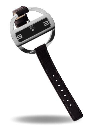Davis 1200-Armbanduhr Analog Damenuhr mit Lederarmband, Schwarz
