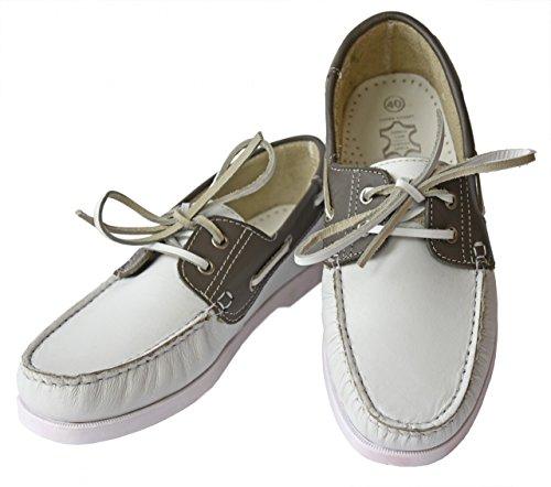 Beverly Originals Chaussures bateau Cuir Homme Men's Casual Colour weiß/grau