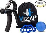 VIZAP®, set da sei allenatori per mano, dita e avambraccio, perfetti per rafforzare i muscoli della mano e dell'avambraccio, con sacchetto di alta qualità per la custodia, 30-70kg
