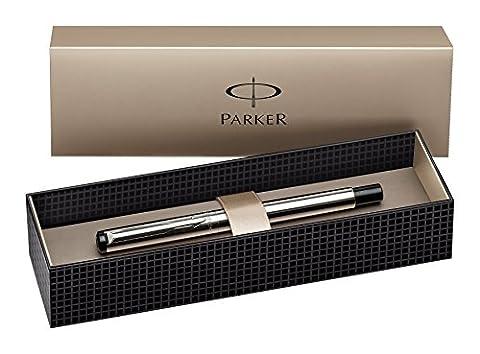 Parker S0723480 Vector Füllfederhalter (edelstahl mit edelstahleinfassung, mittlere Schreibfeder,