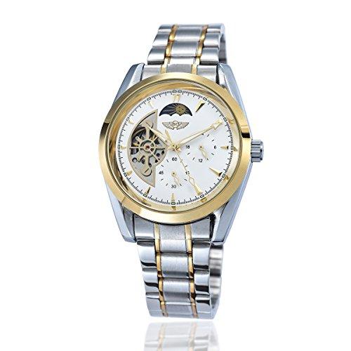 YAKI Elegante classico meccanico orologio automatico da Uomo Bianco 1113-W