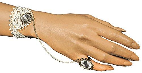 Barock Manolette Spitzen Armband mit Hand Finger Schmuck Weiß - Wunderschöner Modeschmuck zum...
