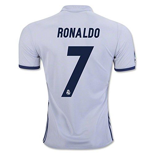 20162017Real Madrid CF 7cristiano ronaldo casa calcio maglia in bianco, Uomo, White, L