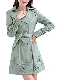 Yasong Women's Girls' Slim Fitted Belted Double Breasted Spring Jacket Trench Coat