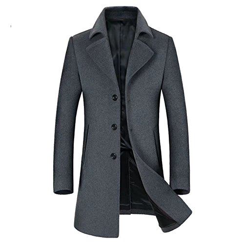 Homme Manteau De Laine Simple Boutonnage Hiver Hommes Manteaux Veste Caban Mens Wool Blend Slim Fit Trench Pea Coat Casual Blazer