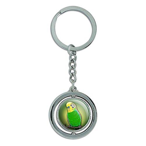 Grün Sittich Wellensittich Vogel Spinning rund Metall Schlüsselanhänger Schlüsselanhänger Ring