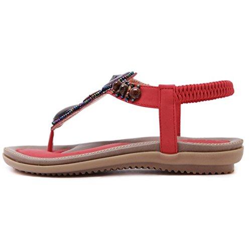 TAOFFEN Damen Western Retro Slingbacks Sandalen Flip-Flop Schuhe Rot