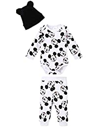 Ensemble Pantalon, Body et Bonnet bébé garçon Mickey Blanc Noir ... 5a3694991ea