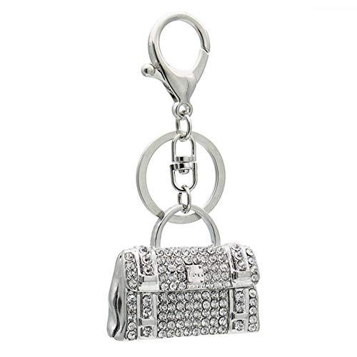 Youyun Strass Handtaschen-Anhänger Schlüsselanhänger Legierung mit Karabinerverschluss für Taschen-Schmuck Anhänger Souvenir Geschenk, Silber, 4.2 * 5cm