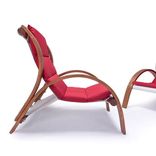 Lounge Gartenmöbel Set Malibu | Relaxsessel & 2er Sofa mit Armlehne, hoher Rückenlehne aus Holz | Gartenstuhl & Gartenbank mit Sitzauflagen rot - 6