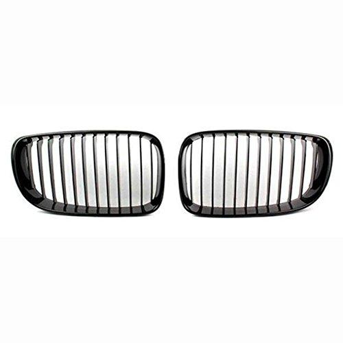 Floridivy 1 Paire Pare-Chocs Avant Noir Mat Grille ABS Chrome Grille Mesh Inserts Garniture de Couverture pour BMW 1 Série E81 E87 2008-2011