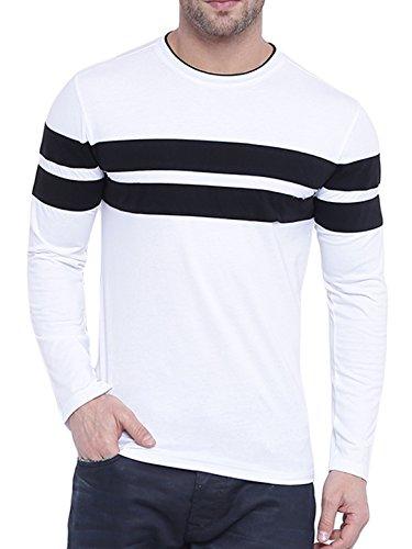 GRITSTONES Men's Cotton Full Sleeve T-Shirt (White Black_Small)