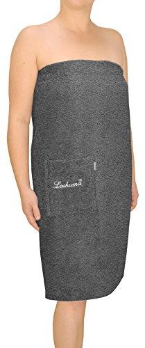 Lashuma Frauen Saunakilt Grau | Saunasarong in Kleiner Größe S/M für schmale Damen | Frottee Strandkleid Lausanne