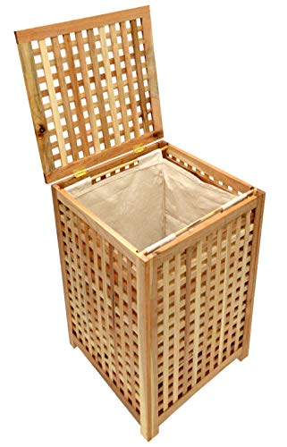 ts-ideen Wäschekorb Wäsche Truhe Sammler Box 68 cm Höhe Badmöbel Massiv Walnuss Holz