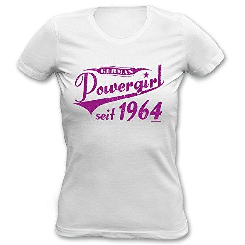 Geburtstag Girlie Shirt -- Powergirl seit 1964 -- Ein colles, witziges Fun Geschenk oder Mitbringsel für Damen Weiß
