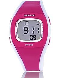 Reloj electrónico digital de múltiples funciones de los ni?os,Led 100 m resistente al agua deporte a resina correa alarma cronómetro hora dual chicas o chicos de moda reloj de pulsera-C