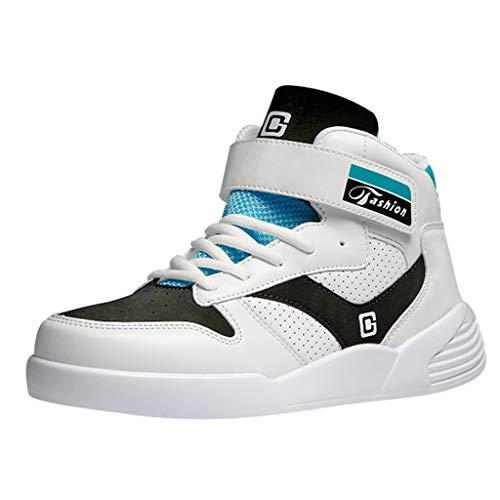Herren High-Top Sportschuhe Komfort Sneaker Kleine Weiße Schuhe mit Klettverschluss Atmungsaktiv Schnürschuhe Verschleißfeste rutschfeste Laufschuhe Flache Schuhe, Blau, 39 EU
