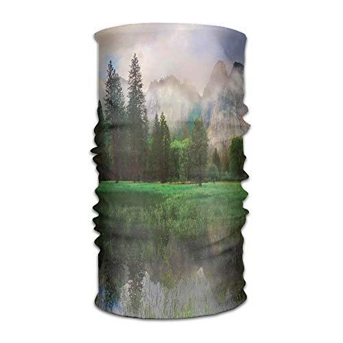 Women's Man's Turban Sunset Panorama of Yosemite Cathedral Rocks Trees Cloudy Sky Reflection Riverside Sports Coverchief