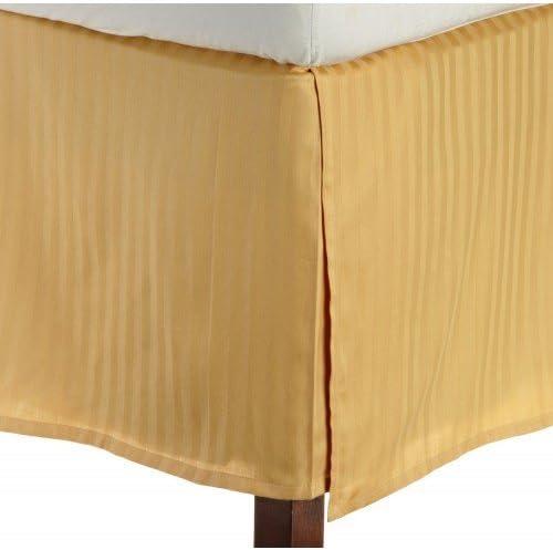Dreamz Étui coton Parure de lit en coton Étui égyptien Ultra doux 450 fils Finition élégante plissé Boîte 1 Jupe de lit (Drop Longueur: 76,2 cm) Euro Super King Size, motif à rayures or ef3235