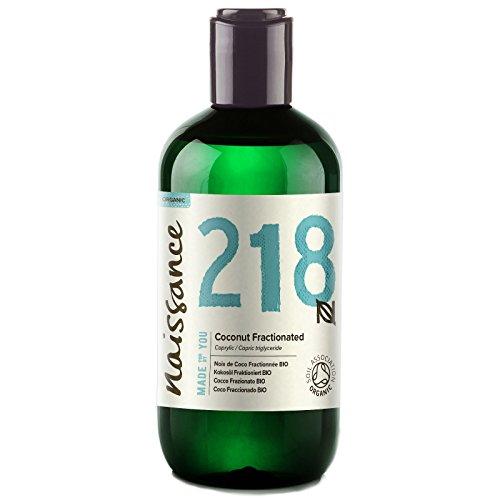 Naissance olio di cocco frazionato certificato biologico 250ml – puro al 100%, vegano, senza ogm, idratante per la pelle e i capelli
