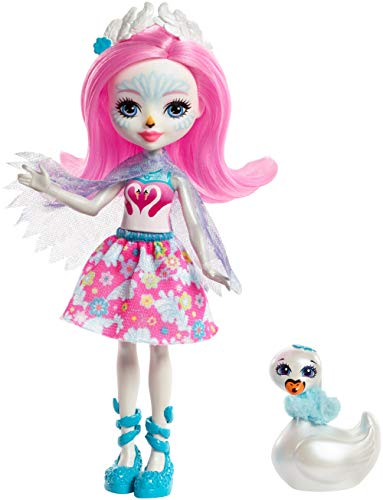 Enchantimals FRH38 Saffi Swan Doll and Poise Figure, Multi-Colour