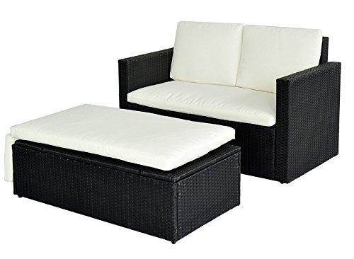 POLY RATTAN Lounge Gartenset Sofa Garnitur Polyrattan Gartenmöbel (Schwarz) - 3