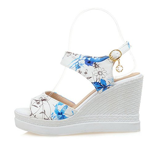 VogueZone009 Donna Tacco Alto Punta Aperta Finta Pelle Scamosciata Heeled-Sandals Azzurro