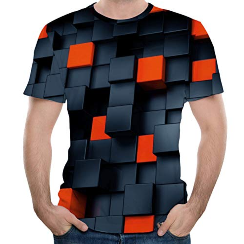 umendruck T-Shirt Herren Rundhals Gitter Mode Persönlichkeit Tee Sport, Beiläufige Fitness Casual Oversize Slim Fit Tops für Party Reisen Tanzparty Club Shirt ()