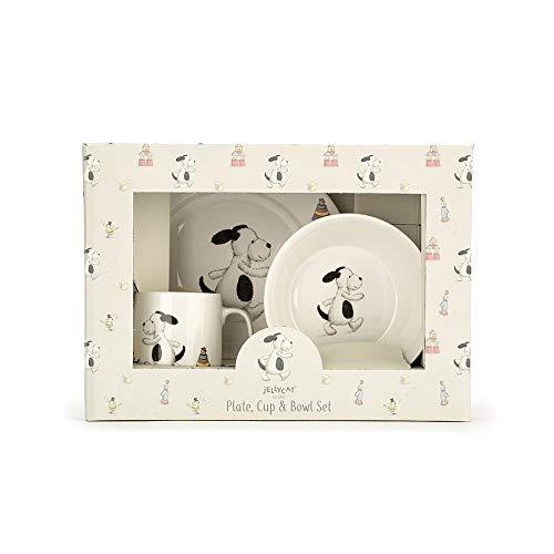 JELLYCAT BASHFUL Puppy Hund Kinder Geschirr Set Geschenkset aus Becher, Teller und Schüssel aus Porzellan in schöner Verpackung (Süßes Geschirr Für Hunde)