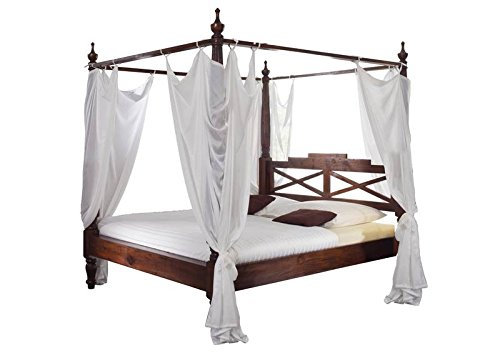 supply24 Designer Massivholz Himmelbett Farbe Nougat 180×200 cm Klassik Stil Luxus Bett inkl. weißer Himmel Holzbett günstig