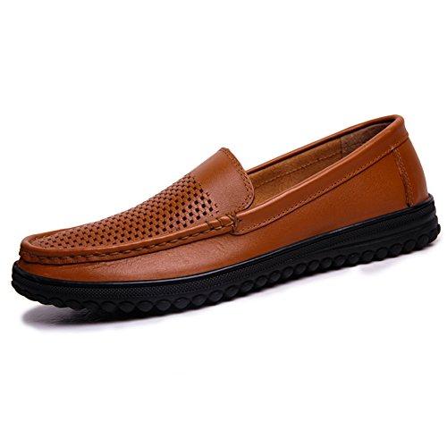 Herren Sommer Hohle atmungsaktive Freizeitschuhe Schlüpfen Geschäft Kleid Leder Loafer Flats (39 EU, Gelb)