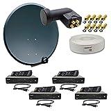PremiumX Digital HD Sat Anlage für 4 Teilnehmer 60cm Schüssel Anthrazit mit Quad LNB 0,1 dB + 50m Koaxial Kabel + 4X HDTV Digital Receiver inkl. HDMI-Kabel