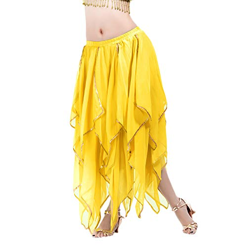 Amphia -  Frauen Sequin Side Split Rock Chiffon Belly Dance Leistungsrock - Damen Bauchtanz Performance Rock