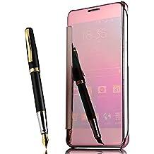 Coque Samsung Galaxy S7 Edge Flip Cover Clear View Spéculaire sommeil / réveil Fonction étui Housse Bumper,Rose