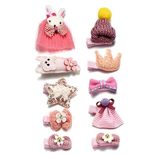 Onnea 10 Stück Haarspangen für Mädchen Rosa Haarklammer (Kaninchen-Katzen-Hut) -