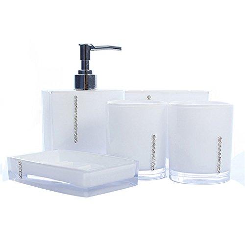 Badezimmer Accessoires - SODIAL(R)5 Teiliges Badezimmer Bad WC Accessoires Set Seifenspender Zahnputzbecher Weiss