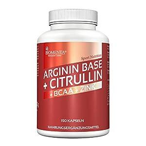 BIOMENTA L-Arginin + Citrullin – mit 3.500 mg L-Arginin Base + 1.000 mg L-Citrullin Malat + 1.000 mg BCAA + Zink – 150 Arginin Citrullin Kapseln – ohne Trennmittel oder Zusätze