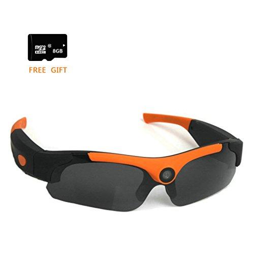 Video Sport Sonnenbrille, Zimingu HD 1080P Video Recorder Spy Sunglasses, DVR Eyewear mit Camera Camcorder und Fotos mit 8GB SD Card (8MP, Weitwinkel) (Brille Video Recorder)