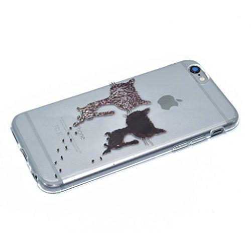 "Coque iPhone 6 / 6S , IJIA Ultra-mince Transparent Rouge Blanc Plain Jane Motif Floral TPU Doux Silicone Bumper Case Cover Shell Housse Etui pour Apple iPhone 6 / 6S 4.7"" XX35"