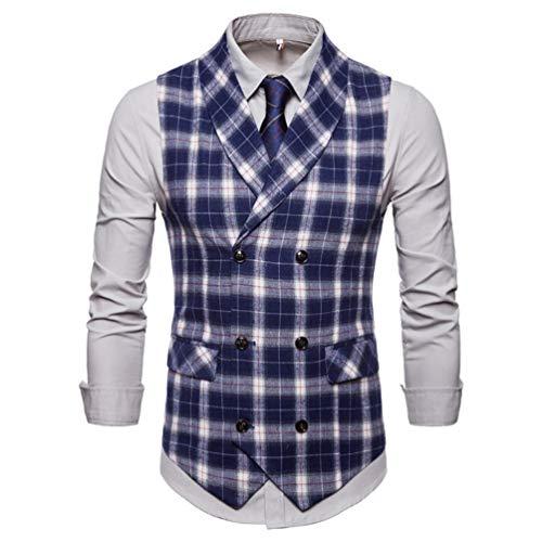 Men Double Breasted Wedding Suit Waistcoat Vests Men Business Overcoats Plaid Casual Vest Blue XXXL -