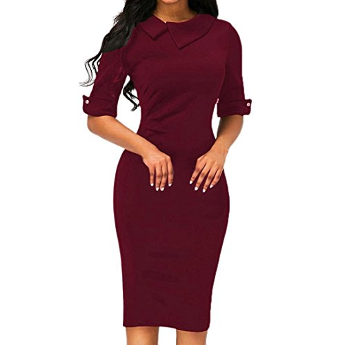 (OVERDOSE Frauen Retro Bodycon Formale Büro OL Kleid Bleistift Kleid Zipper Damen Revers Business-Kleid Office Mini Dress(A-Wine,EU-38/CN-L))