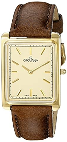 GROVANA 1040.1511 Men's Quartz Swiss Watch with Gold Dial Analogue