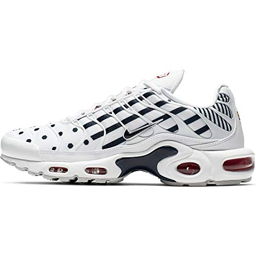 Nike WMNS Air Max Plus TN, Chaussures d'Athlétisme Femme, Multicolore (White/Midnight Navy/MTLC Red...