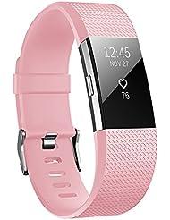 Hanlesi Armband für Fitbit Charge 2 , TPU weich Silikon Ersatz verstellbar Sport der Band der Gurt für Fitbit Charge 2
