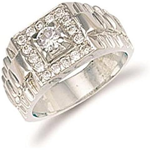 Hallmarked 9ct oro blanco Zirconia cúbico anillo tapa cuadrada de caballero