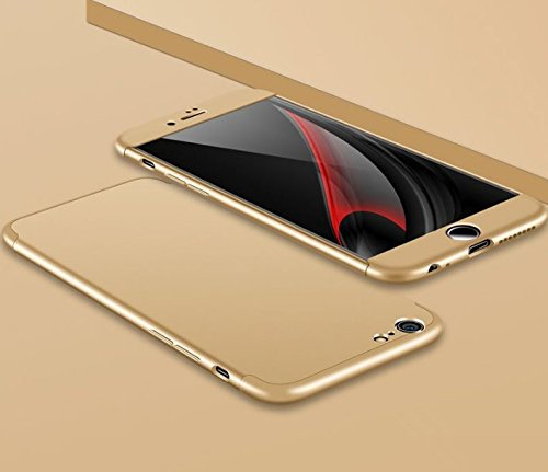 Qissy®3 in 1 Ultra Dünner PC Harte Case 360 Grad Schutzharte iPhone 6 Plus 6s Plus Fall Premium mattierte Schutzhülle (iPhone 6 Plus 6s Plus, Schwarz + rot) Gold