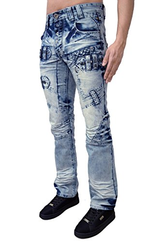 Eto Jeans Designer Herren Regular Fit Witzig Antik Look Denim Hose 2 Wäscht Light Stonewash Bleach